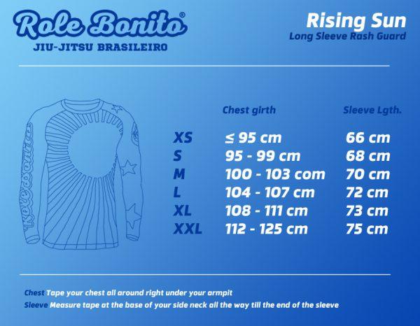 Rising Sun Rash Guard – Size Chart