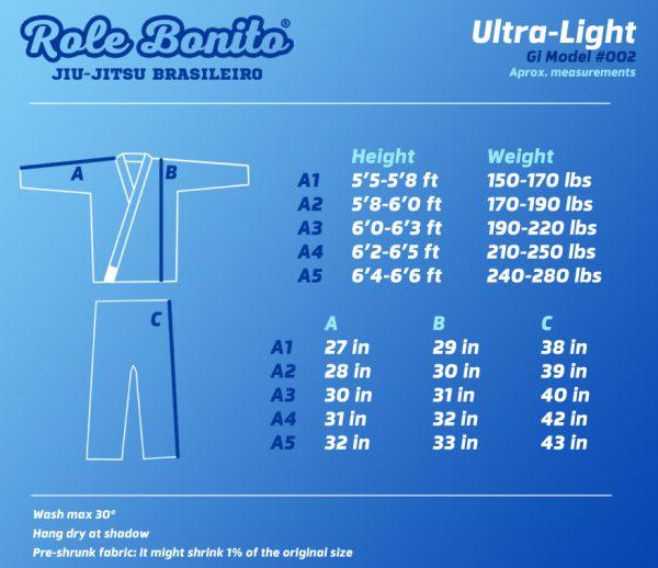 Ultra light Gi – Size Chart