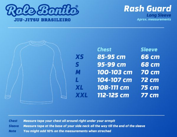 Long Sleeve Rash Guard – Size Chart